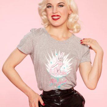 T-shirt grey burlesque pinup Fay Loren