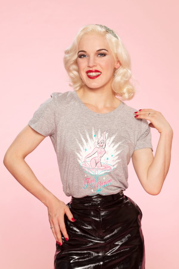 T-shirt grey burlesque pinup Fay Loren